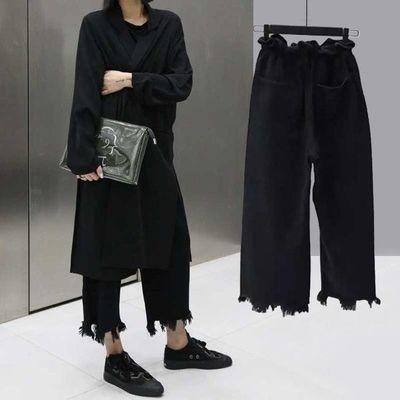 2020韩版原宿风潮流宽松牛仔女学生宽松黑色显瘦高腰阔腿裤九分裤