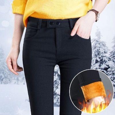 冬季加绒加厚外穿打底裤女小脚裤学生春秋韩版黑色裤子紧身铅笔裤