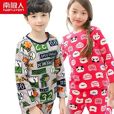 南极人童装儿童保暖内衣套装男童女童金绒加绒加厚秋衣秋裤两件装
