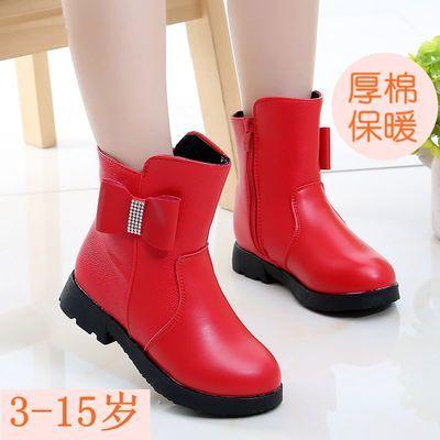 冬季新款厚棉女童靴子保暖靴3-15岁中筒皮靴马丁靴英伦风大棉加绒