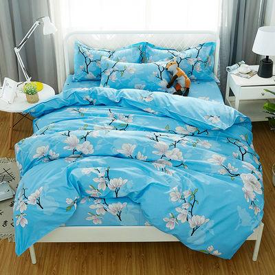 床幔公主笠加厚罩四件套纯棉学生用品小清新全布料单被席梦思4褥