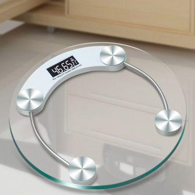 电子秤体重秤长久待机钢化玻璃电子秤屏圆形精准健康人体秤