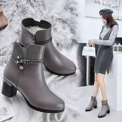 女靴子秋冬季真皮羊毛高跟短靴粗跟圆头中跟妈妈棉鞋加绒保暖棉靴