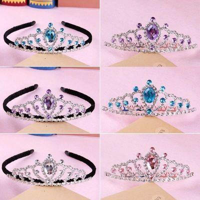 儿童皇冠苏菲娅同款发箍头饰公主王冠韩国女孩水晶发卡包布夹发梳