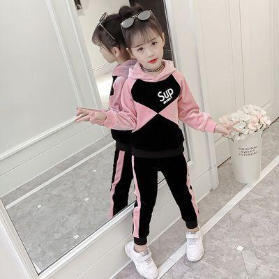 女童金貂绒秋冬两件套2019新款时髦儿童洋气套装运动加绒加厚卫衣
