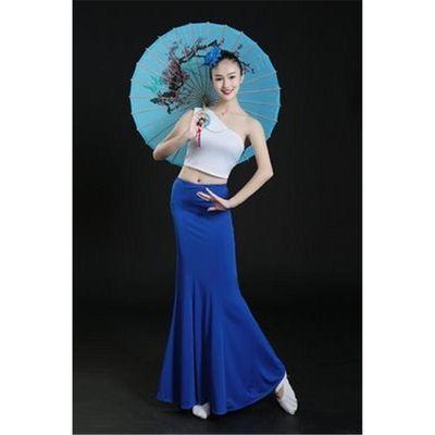 新款傣族舞蹈演出服孔雀舞蹈服女傣族裙表演服饰包臀鱼尾裙练习裙