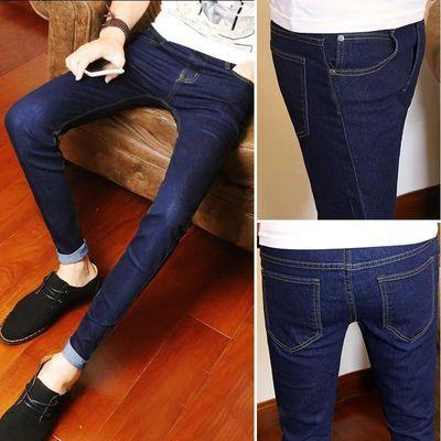 新款春秋季黑色休闲牛仔裤男小脚修身型青年蓝色长裤子裤韩版潮流