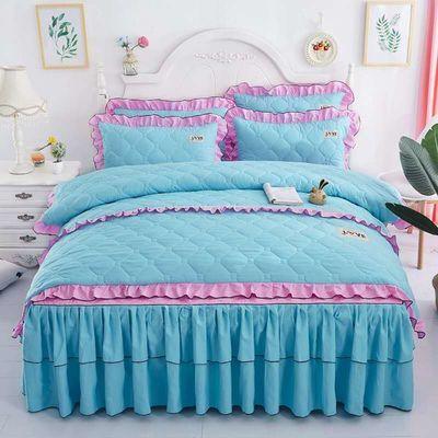 秋冬全棉夹棉床裙四件套1.8m床上用品纯棉带加厚床单床罩床套款式