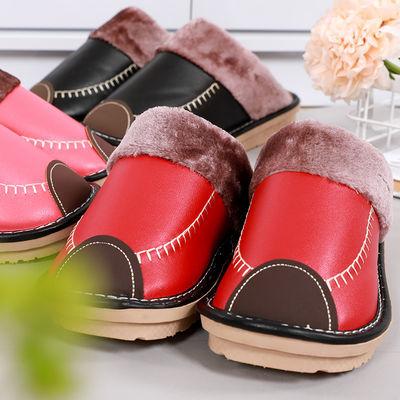 秋冬季皮棉拖鞋女情侣男士韩版室内居家用防滑防水毛绒保暖加厚底