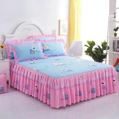 床罩双绒公主件围保护蕾丝裙套加被褥人纯棉照边斜纹榻米盖薄垫款