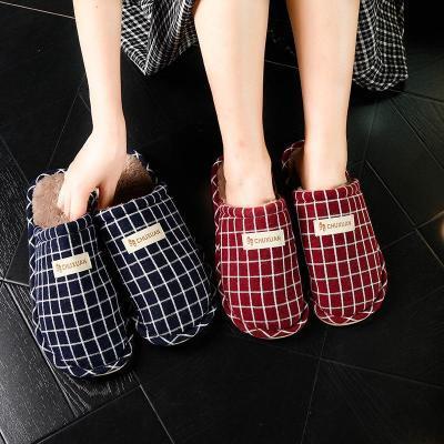 毛拖鞋女冬季勾线家居室内可爱秋防滑外穿水做棉的布面子半成品社