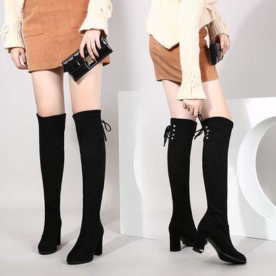 鞋子女2020秋冬新款过膝长靴女韩版网红高筒靴长筒弹力靴高跟女鞋