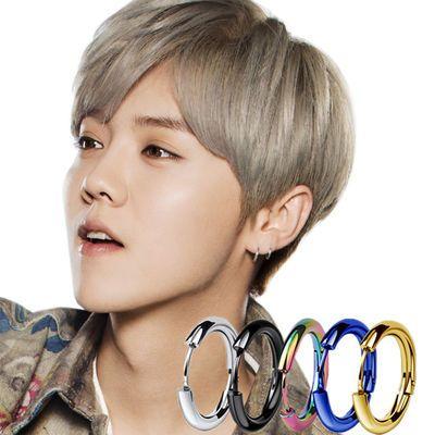 【送大礼包】韩版男学生耳环耳钉女加粗个性钛钢耳扣社会人耳圈