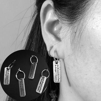 韩国个性耳扣做旧字母牌耳圈复古耳环男女耳钉耳坠无耳洞耳夹饰品