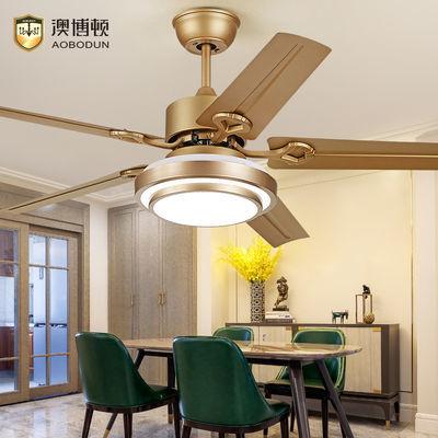 风扇灯餐厅吊扇灯 北欧客厅卧室简约不锈钢木叶带led灯的风扇吊灯