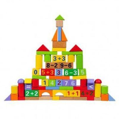 上新70粒榉木数字算术积木制早教启蒙益智桶装大块积木儿童玩具E1