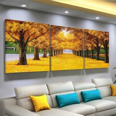 客厅装饰画沙发背景现代简约复古郁金香卧室三联挂画墙壁画无框画