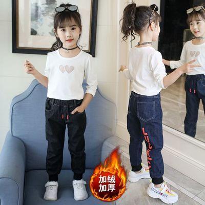 男童女童牛仔裤加厚加绒冬款宝宝裤子儿童保暖棉裤修身加棉1-6岁