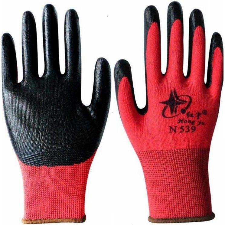 12双包邮男女星宇红宇N529N539丁腈防滑尼龙涂胶耐油劳保防护手套