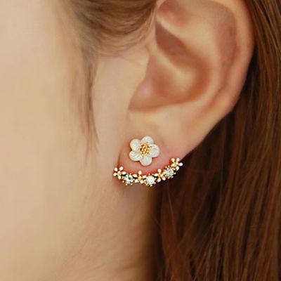 韩版花朵耳钉女气质韩国后挂式耳环简约百搭防过敏耳饰礼物女