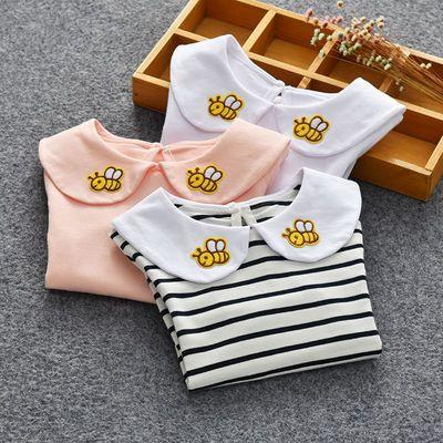 宝宝秋季长袖打底衫2018秋新款娃娃领翻领棉上衣女童刺绣娃娃衫