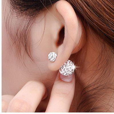 韩版满钻耳钉女气质钻球耳钩简约百搭学生耳环防过敏耳饰一款两戴