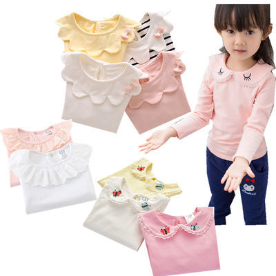 韩版女童装春装新款宝宝打底衫纯棉婴儿春秋衣服长袖娃娃领公主衫