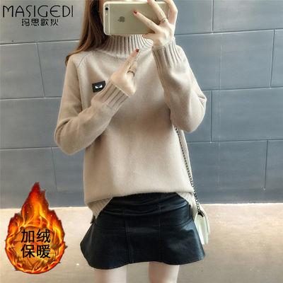 加绒/不加绒秋冬新款针织衫毛衣女韩版宽松半高领长袖套头打底衫