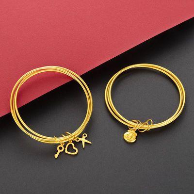 【3个装】越南沙金时尚手环镀黄金色日韩气质经典镀金色手镯女