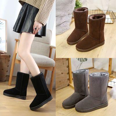 冬季新款高筒加绒雪地靴加厚女韩版学生棉靴子平底防滑厚底棉鞋女