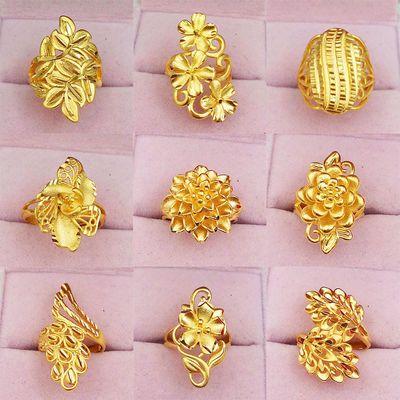 30633/越南沙金戒指女士日韩版久不掉色铜镀金黄金孔雀食指指环活口百搭