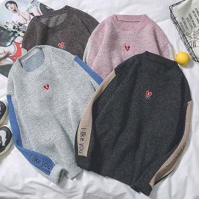 秋季日系原创毛衣男韩版青少年圆领针织衫修身长袖套头毛线衣学生