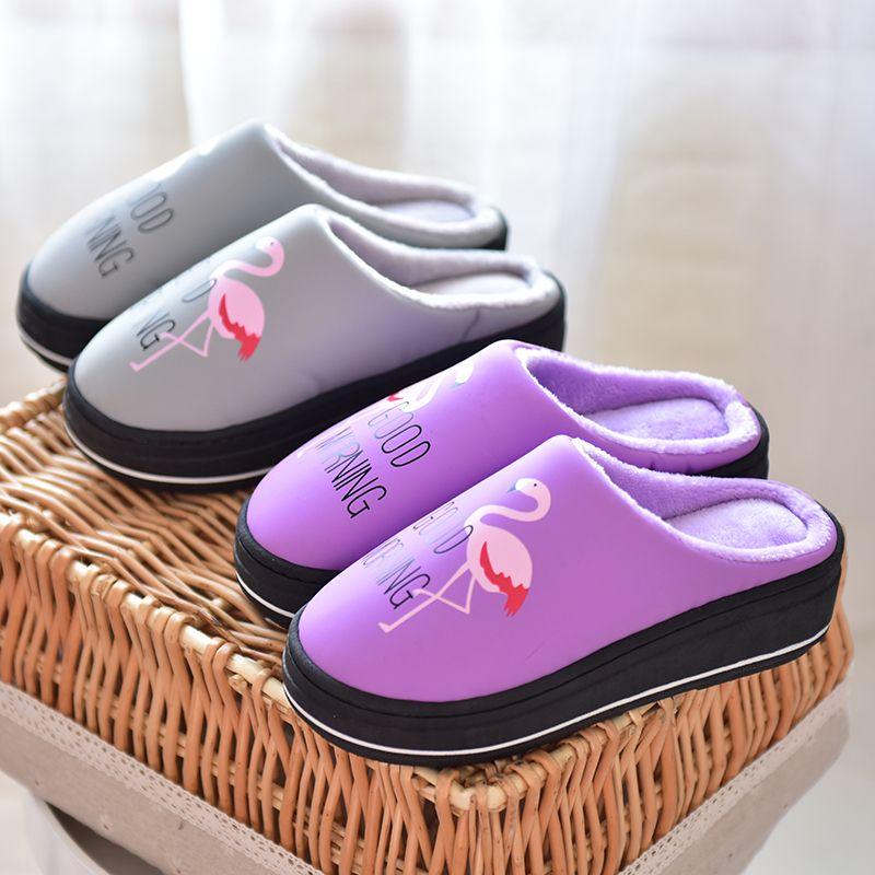 皮拖鞋冬季女防水冬pu皮月子鞋厚底防滑可爱高跟鞋居家室内棉拖鞋