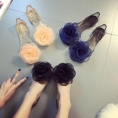 夏季韩版果冻平底凉鞋女学生单鞋蝴蝶结花朵透明鱼嘴鞋时尚沙滩鞋