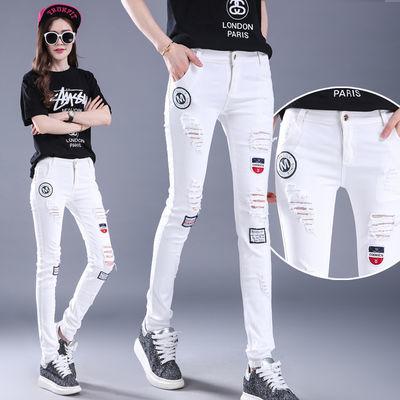 【好质量】白色破洞牛仔裤女高腰弹力修身显瘦铅笔裤女学生热裤