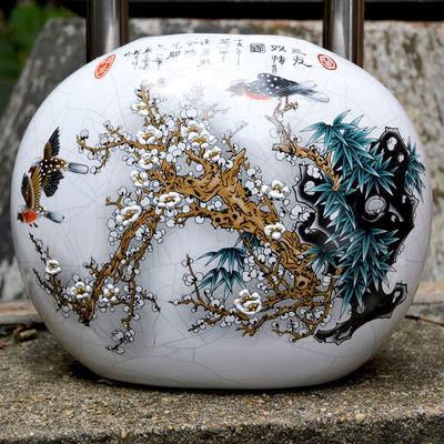景德镇陶瓷器花瓶仿古官窑客厅书房玄关现代摆件家居工艺装饰品