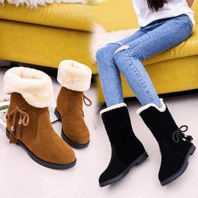 新品2018冬季韩版雪地靴女鞋短筒加绒保暖平底平跟学生靴子女棉鞋