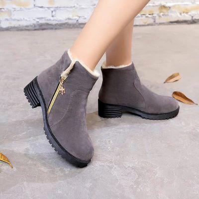 新品2018冬季保暖雪地靴厚底粗跟加绒棉鞋防滑马丁靴女短靴子舒适
