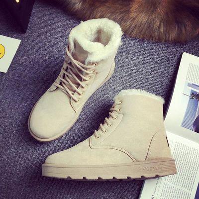 新品2018冬季雪地靴女短筒学生短靴韩版加绒保暖棉鞋马丁靴女舒适