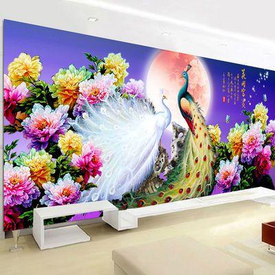 5D钻石画2020新款客厅牡丹花手工点贴钻石十字绣花开富贵孔雀满钻