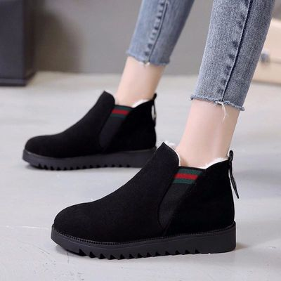 新品2018冬季加绒保暖雪地靴女学生短筒棉靴韩版马丁短靴百搭棉鞋