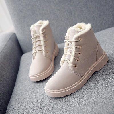 新品冬加绒加厚雪地靴棉鞋短靴女鞋低跟学生短筒系带马丁靴女靴子