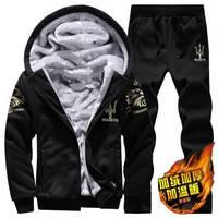 加绒加厚休闲套装男士青年卫衣运动套装秋冬季学生外套男装两件套