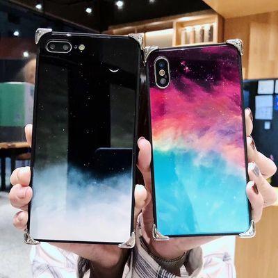 iphoneX手机壳星空玻璃苹果7plus防摔壳女款6splus简约情侣保护套