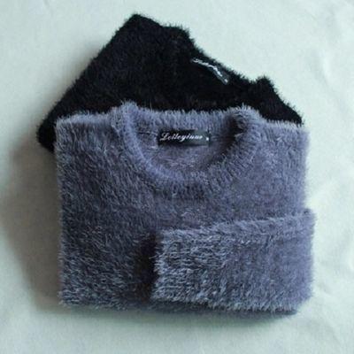 雷特依诺冬季男士针织衫长袖打底衫保暖上衣服男毛绒毛毛衣