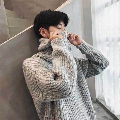 秋冬季男士高领毛衣潮流修身百搭毛衣圆领针织衫男宽松毛线衫外套