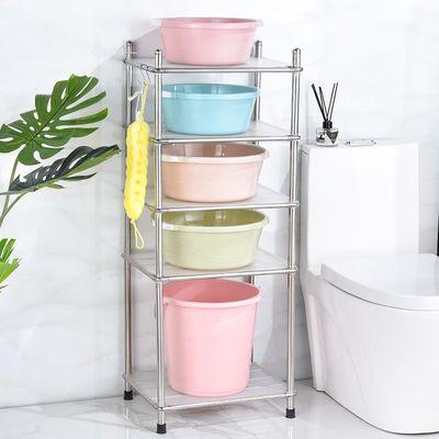 浴室置物架脸盆收纳架落地式家用卫生间洗手间厕所多层不锈钢盆架