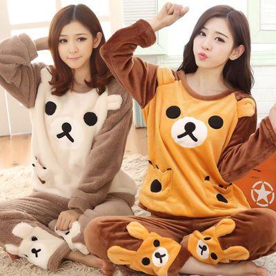 秋冬季睡衣女加厚珊瑚绒韩版可爱卡通轻松熊法兰绒学生家居服套装