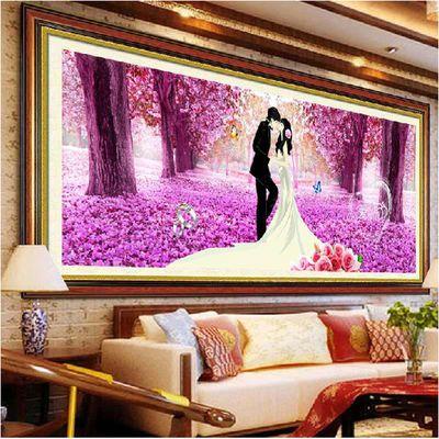 手工印花十字绣2020新款客厅线绣爱相随婚礼喜庆樱花卧室结婚大幅
