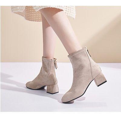 秋冬季新款短靴女粗跟绒面马丁靴方头中跟百搭韩版加绒瘦瘦靴子女